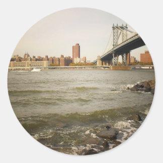 The Manhattan Bridge, A Riverfront View Sticker