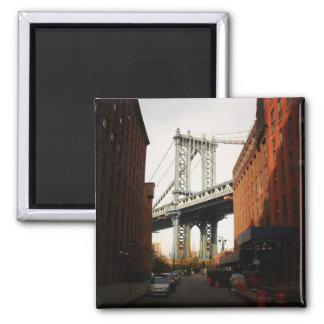 The Manhattan Bridge, A Street View 2 Inch Square Magnet