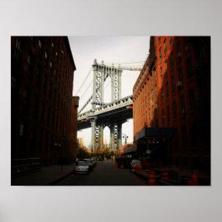 The Manhattan Bridge A Street View Small Poster