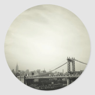 The Manhattan Bridge in Black and White Classic Round Sticker