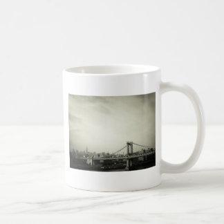 The Manhattan Bridge in Black and White Mugs