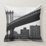 The Manhattan Bridge in New York City Throw Pillows