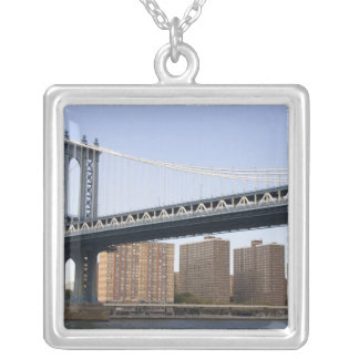 The Manhattan Bridge spanning the East River Silver Plated Necklace