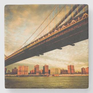 The Manhattan bridge view from Brooklyn side (NYC) Stone Coaster