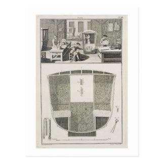 The manufacture of a sedan chair in a coachbuilder postcard