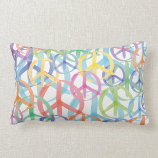 The Many Colors of Peace Signs Lumbar Pillow