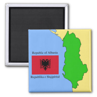 The map and flag of Albania Magnet