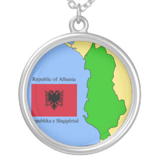 The map and flag of Albania Silver Plated Necklace