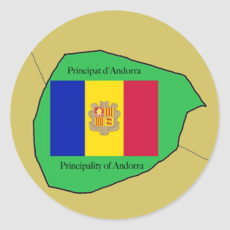 The Map and Flag of Andorra Classic Round Sticker