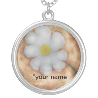 The marbling of art daisy tag Necklace