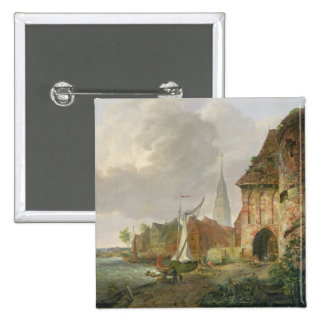 The March Gate in Buxtehude, 1830 Pinback Button