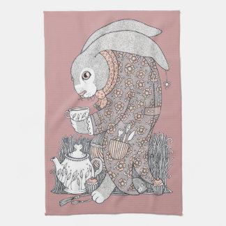 The March Hare Awaits Tea Towel