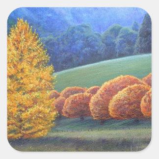 The March of Bright oak trees. Square Sticker