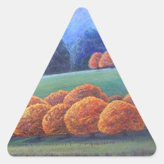 The March of Bright oak trees. Triangle Sticker