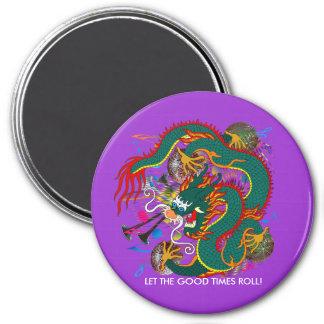 The-Mardi Gras Dragon V-2 3 Inch Round Magnet