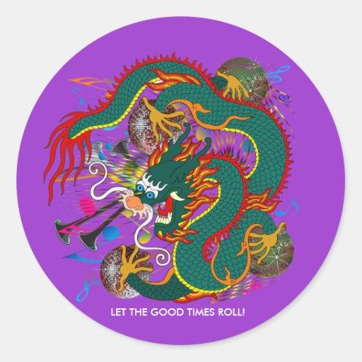 The-Mardi Gras Dragon V-2 Classic Round Sticker