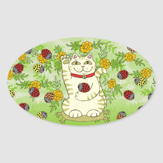 The Marigolds Are Lucky Today! Oval Sticker