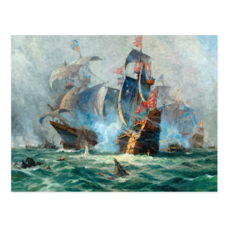 The marine battle scene postcard
