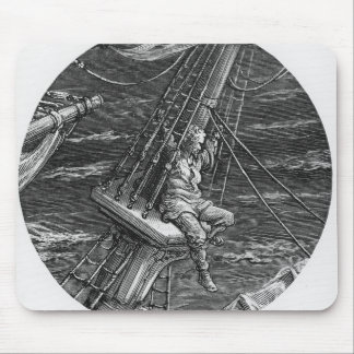 The Mariner aloft in the poop of the ship Mouse Pad