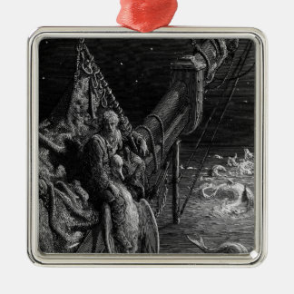 The Mariner gazes on the serpents in the ocean Metal Ornament