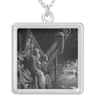 The Mariner gazes on the serpents in the ocean Silver Plated Necklace