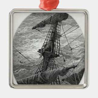 The Mariner up the mast during a storm Metal Ornament