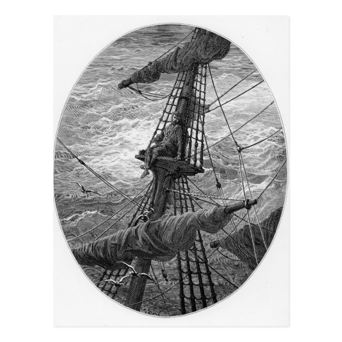 The Mariner up the mast during a storm Postcard