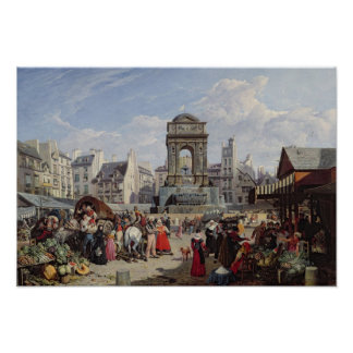 The Market and Fountain of the Innocents Poster