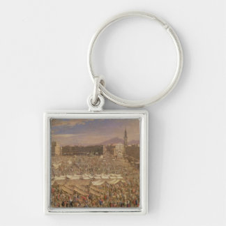 The Market at Naples Silver-Colored Square Keychain