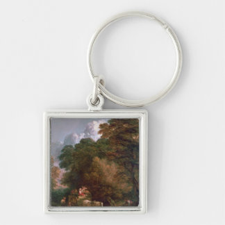 The Market Cart, 1786 Silver-Colored Square Keychain