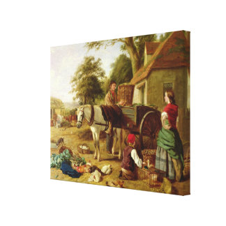 The Market Cart, 1864 (oil on canvas) Stretched Canvas Print
