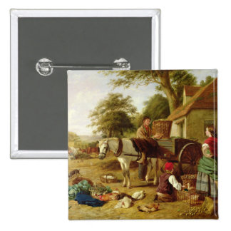 The Market Cart, 1864 (oil on canvas) 2 Inch Square Button