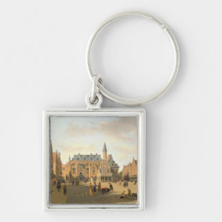 The Market Place with the Raadhuis Silver-Colored Square Keychain