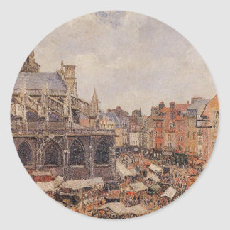 The Market Surrounding the Church of Saint-Jacques Classic Round Sticker