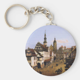The Marketplace at Pirna by Bernardo Bellotto Basic Round Button Keychain