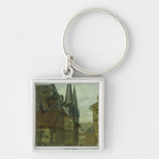 The Marketplace in Wernigerode, 1861 Silver-Colored Square Keychain