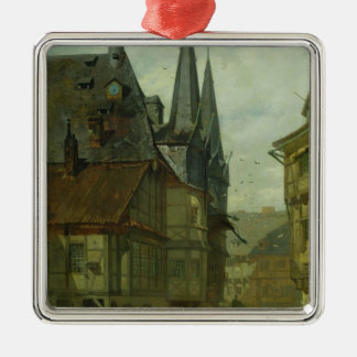 The Marketplace in Wernigerode, 1861 Square Metal Christmas Ornament