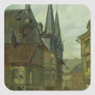 The Marketplace in Wernigerode, 1861 Square Sticker