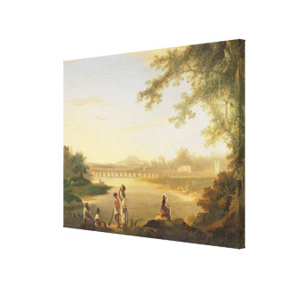The Marmalong Bridge, with a Sepoy and Natives in Canvas Print