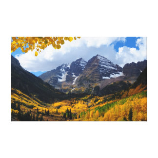 The Maroon Bells in Autumn Gold Gallery Wrapped Canvas