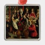 The Marriage Feast at Cana, c.1500-03 Square Metal Christmas Ornament
