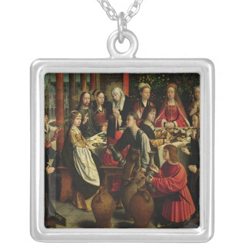 The Marriage Feast at Cana, c.1500-03 Square Pendant Necklace