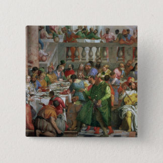 The Marriage Feast at Cana, detail of banqueting t Pinback Button