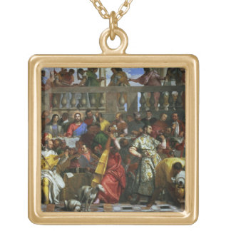 The Marriage Feast at Cana, detail of musicians an Square Pendant Necklace