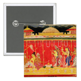 The Marriage of Krishna's Parents, from a disperse Pinback Buttons