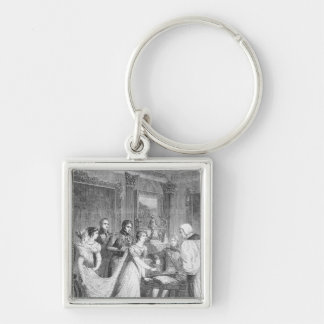 The Marriage of The Princess Charlotte of Silver-Colored Square Keychain