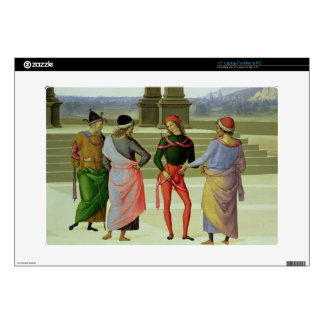 """The Marriage of the Virgin, detail of four men in 15"""" Laptop Skin"""