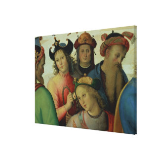 The Marriage of the Virgin, detail of the suitors, Canvas Print