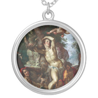 The Martyrdom of Saint Sebastian Joachim Wtewael Silver Plated Necklace