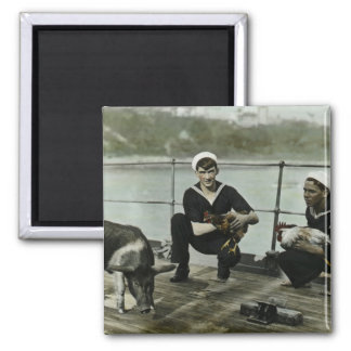 The Mascots Vintage WWII Sailor Rooster Pig 2 Inch Square Magnet